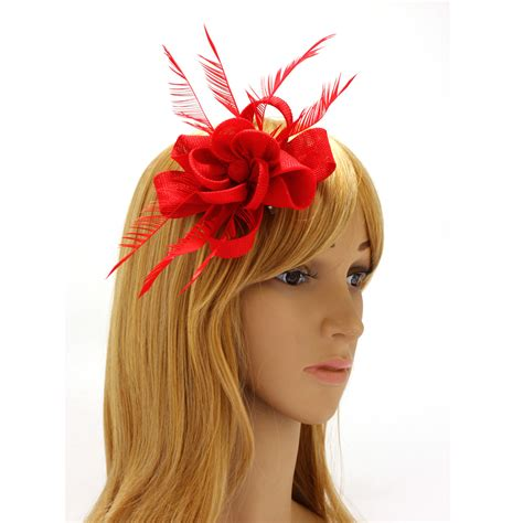 agh red feather flower hair fascinator