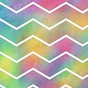Bright Rainbow Watercolor Chevron Pattern 2 fabric ...