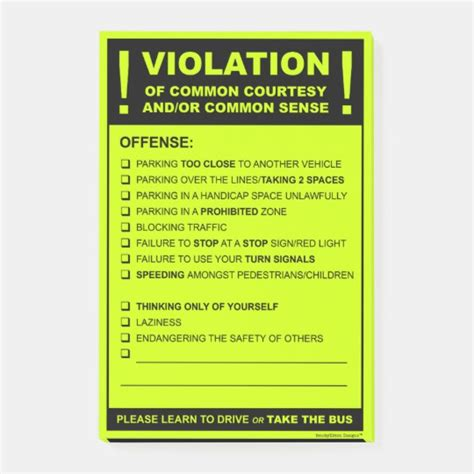 funny fake parking ticket driving citation post  notes