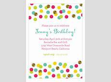 Polka Dot Design Digital Glitter Color Confetti Invitation