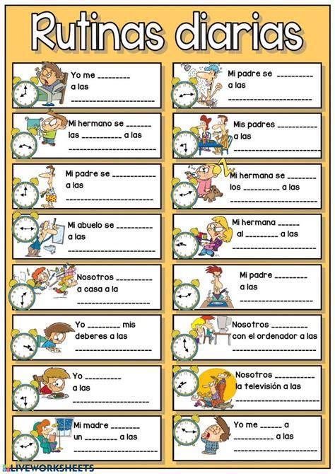 rutinas diarias las horas interactive worksheet