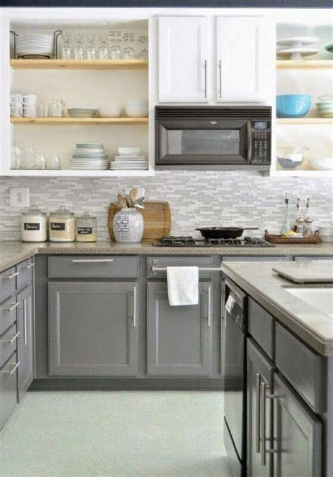 gray bottom kitchen cabinets gray on bottom white on top kitchen in 2019