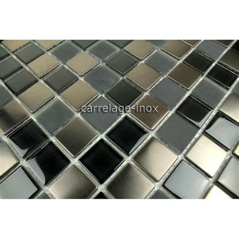 carrelage noir joint noir tile stainless steel and glass mosaic in stainless steel and glass doblo noir carrelage inox fr
