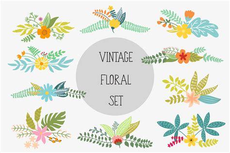 vintage floral set illustrations creative market