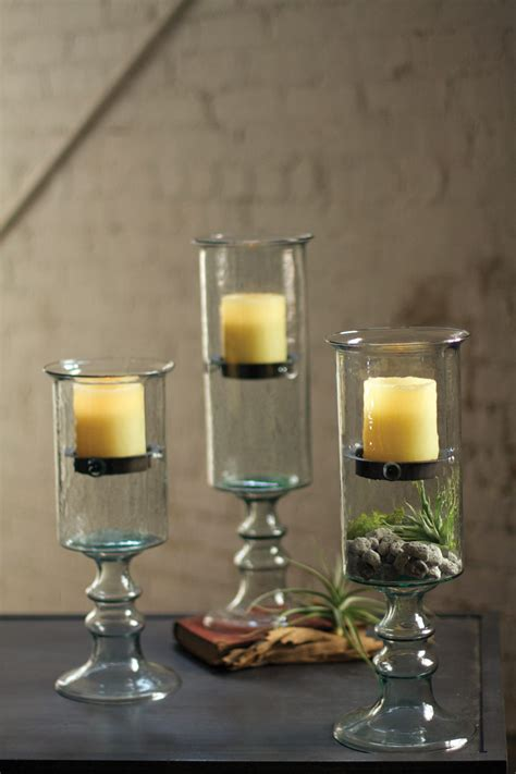 large mini glass candle cylinder  metal insert