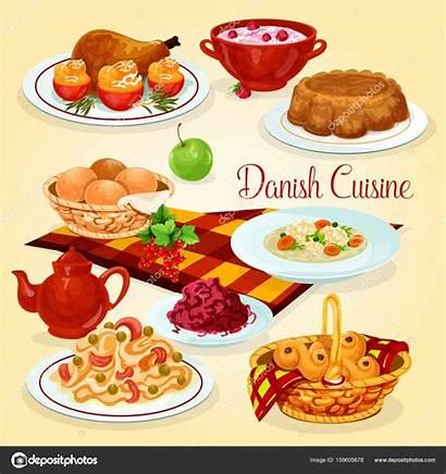 Cartoon Danish Dishes Cuisine Lunch Rice Almuerzo