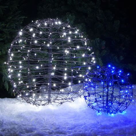lighted spheres feature blue led string lights