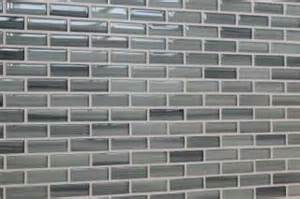light gray cool blue glass mosaic subway tile kitchen