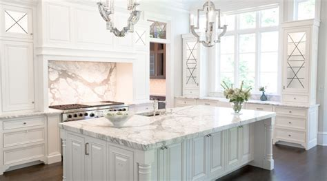 Kitchen features thick 6 cm slab of Calacatta Marble