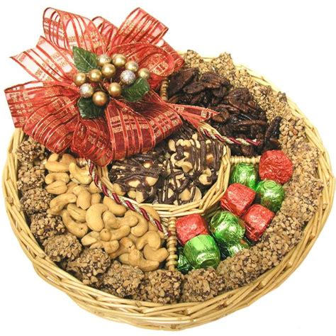 large holiday nut wicker gift tray holiday nut gift