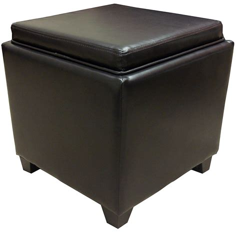 rainbow brown bonded leather storage ottoman with tray - Storage Ottomans With Trays