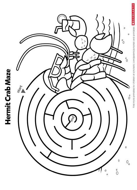 find     crab maze worksheets