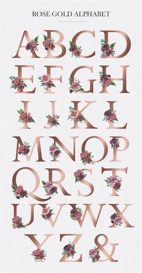 watercolor floral alphabet rose gold alphabet monogram letters forest clipart embellished
