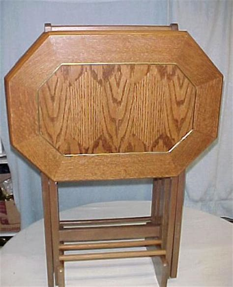 wooden tv trays with stand set of 4 vintage wood style tv tray tables w stand 1964