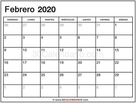 febrero calendario calendario