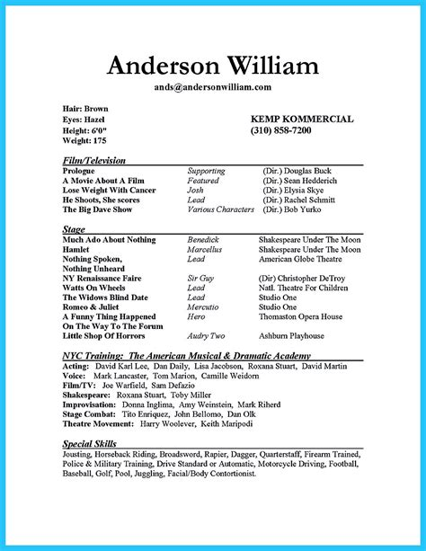 How To Write A Simple Resume by Actor Resume Sle Presents How You Will Make Your