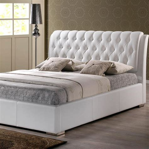 8503 white bed frame baxton studio transitional white faux leather