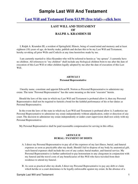 testament template form illinois