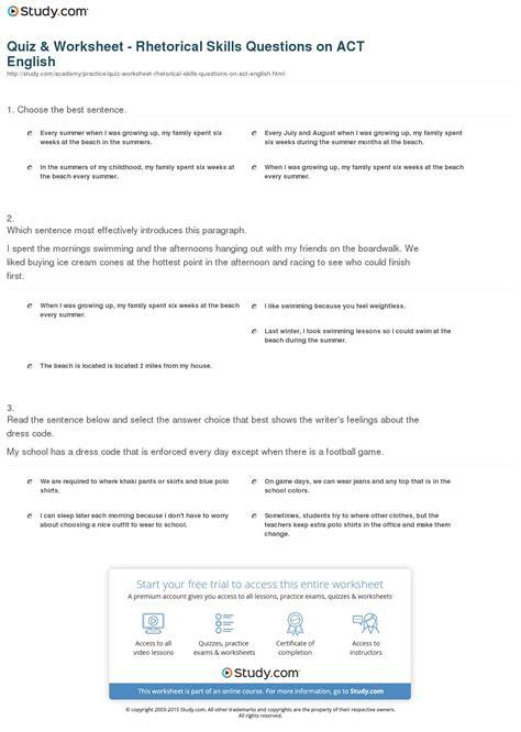 Quiz & Worksheet  Rhetorical Skills Questions On Act English Studycom