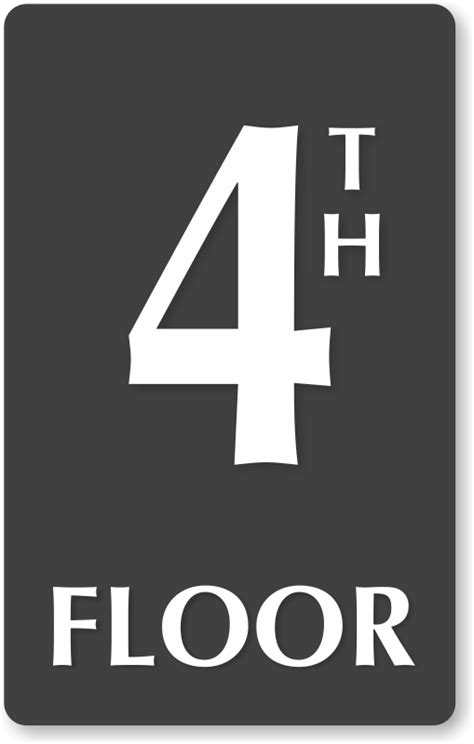 four floors of 4th floor number engraved sign ship for free sku se 5838