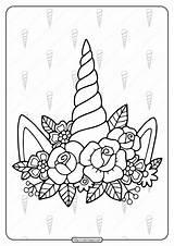 Unicorn Coloring Printable Horn Flowers Lol Mask Surprise Unicorns Pdf Coloringoo Sheets Horns Printables sketch template