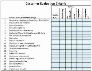 Vendor evaluation criteria template for Resume evaluation criteria