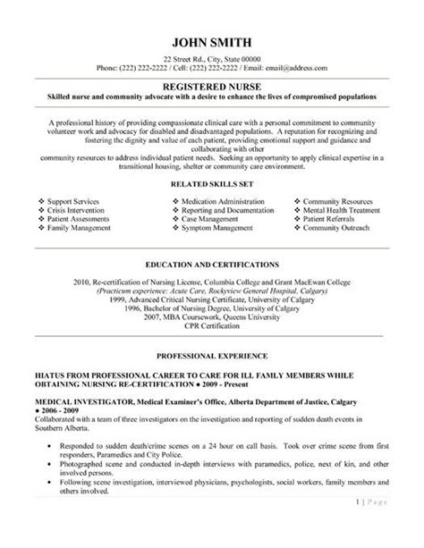 Exles Resumes Registered Nurses by Click Here To This Registered Resume Template Http Www Resumetemplates101