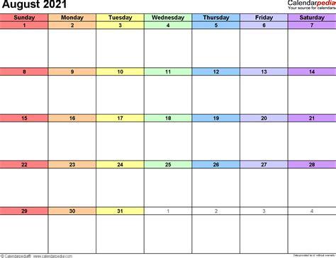 August September 2021 Calendar Cute Image