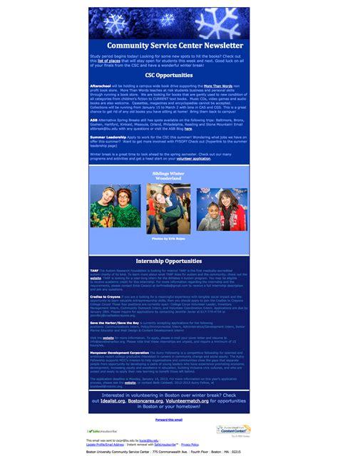 weekly newsletter community service center boston