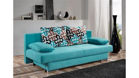 Modernes Schlafsofa Tiffany Sofa In Türkis Inkl 4 Kissen