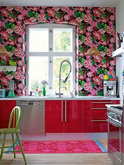 Kitchen Floral Backsplash Blumentapeten Homebnc Decorar Ventanas