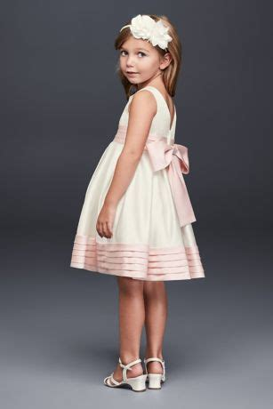 satin flower girl dress  pleated waist  hem david