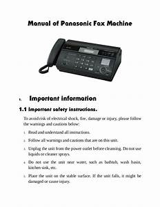 Manual Of Panasonic Fax Machine