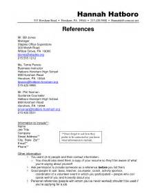 exles for resume references doc 12751650 exle of reference page for resume bizdoska