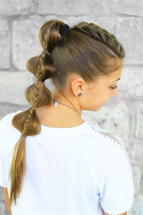 stacked bubble braid cute hairstyles