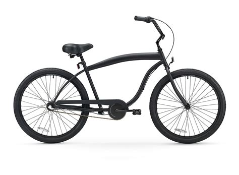 Men's 3 Speed Matte Black Beach Cruiser Bicycle