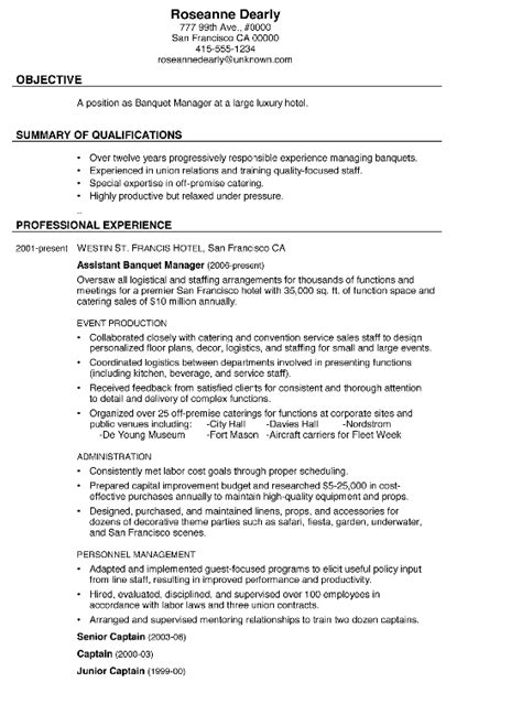 Banquet Captain Resume Sle by Resume Sle Banquet Manager
