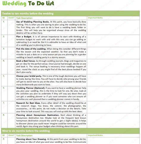 wedding list to do to do list for wedding free to do list