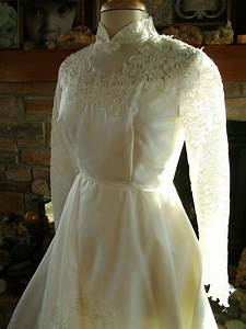 vintage wedding dress 1970s chantilly lace bridal gown long With 1970s wedding dress