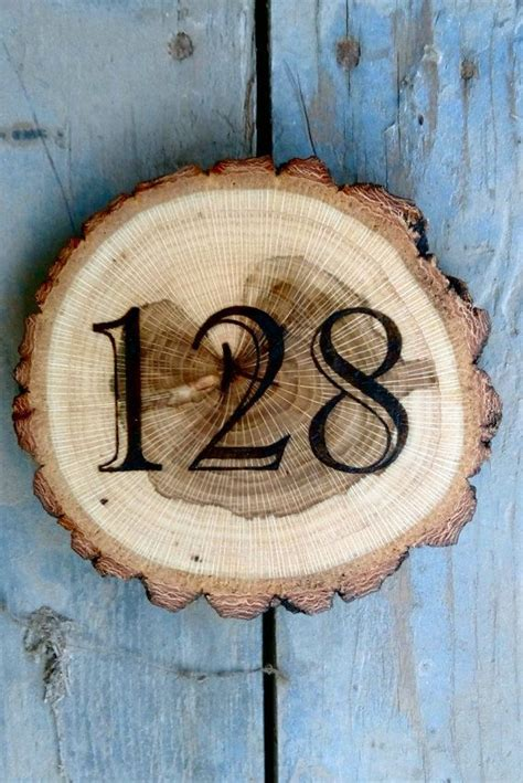 house number sign wooden rustic handmade plaque