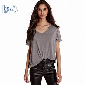 CosyFree 2017 Summer Sexy Casual Style V Neck Solid Gray ...