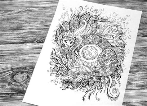 Cat-dragon Adult Coloring Page Doodle Printable Colouring Zen