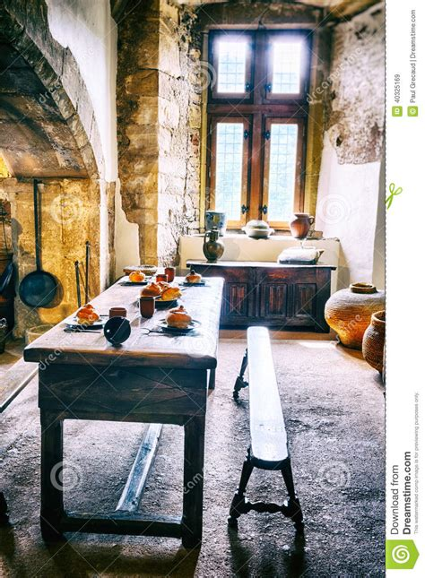 medieval kitchen   castle stock photo image