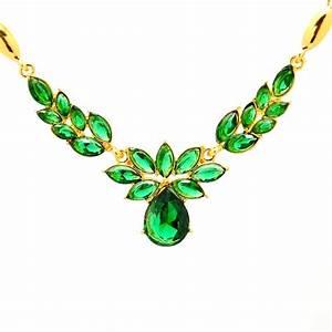 parure bijoux cristal vert emeraude plaquee or jaune un With bijoux en cristal
