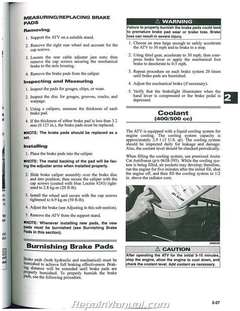 arctic cat     atv service manual
