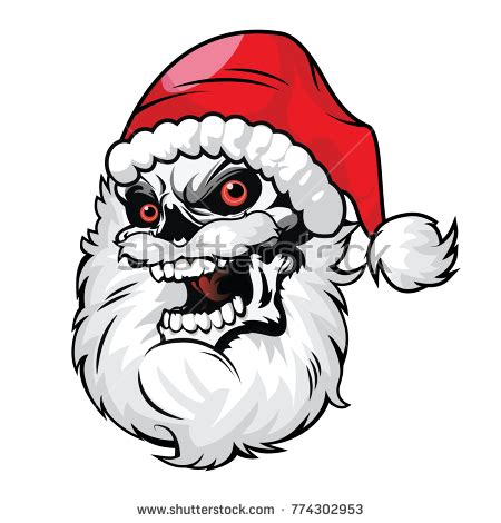 Skull Santa Claus Background Branches Mistletoe Stock Merry Calligraphic Golden Stock