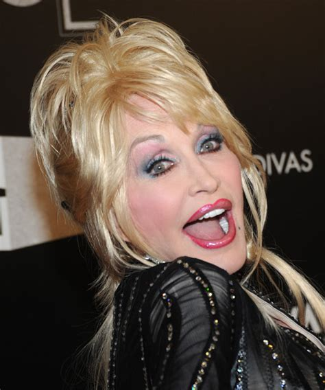 dolly parton casual long straight updo hairstyle  side