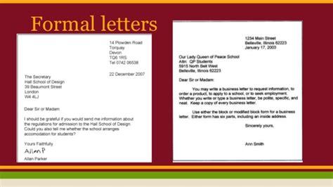 formal informal letters  emails