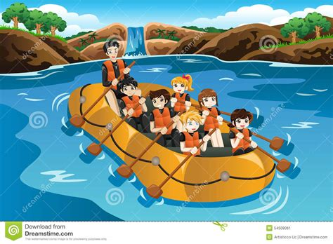 Rafting Boat Clipart by Rafting In A River Stock Vector Image 54508061