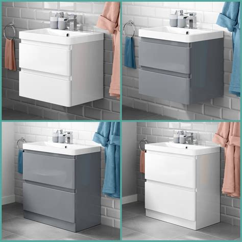 Modern Bathroom Vanity Unit Basin Sink Unit 2 Drawer